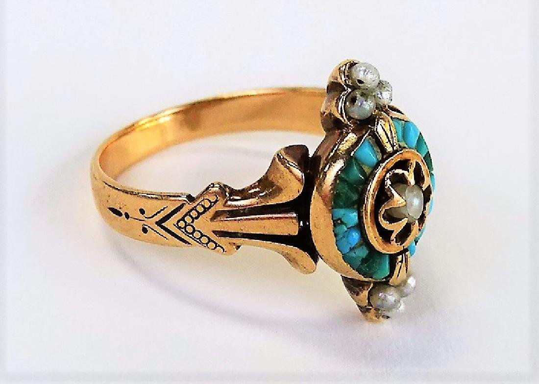 VICTORIAN 9KT YELLOW GOLD TURQUOISE & PEARL RING - 4