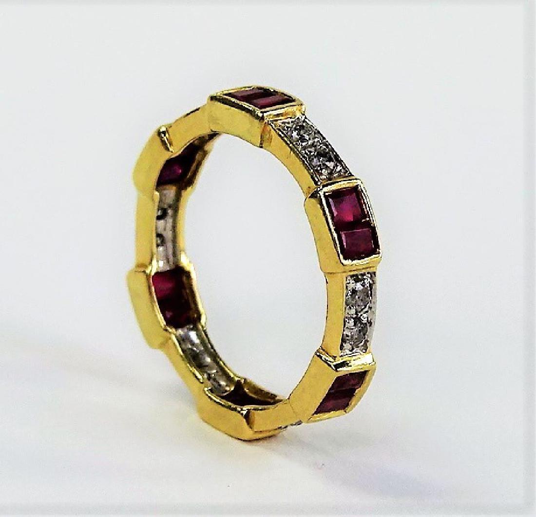 14KT YELLOW GOLD DIAMOND & RUBY BAND - 2
