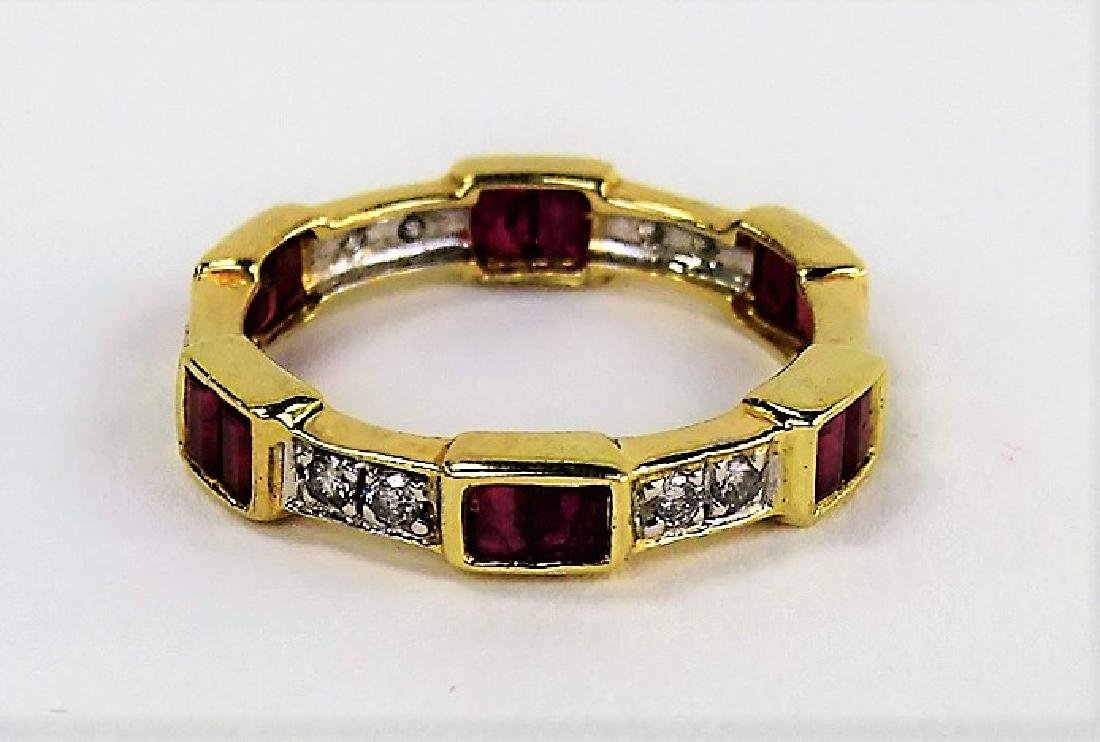 14KT YELLOW GOLD DIAMOND & RUBY BAND - 3