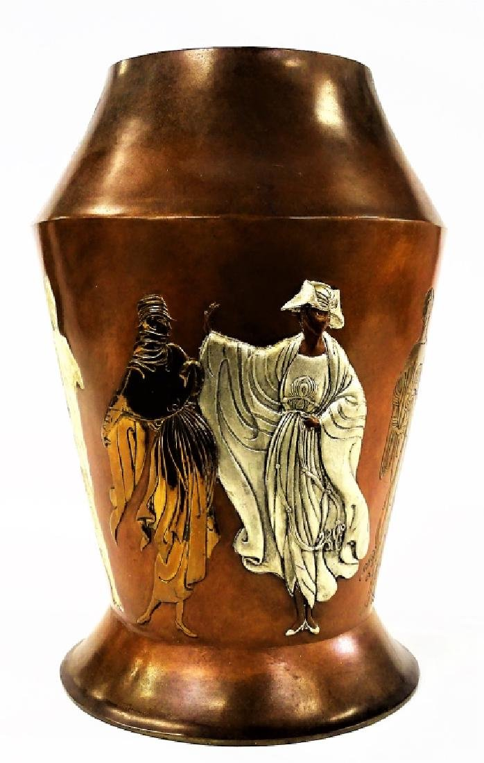 "ERTE FRENCH BRONZE RELIEF ""CELEBRATION"" VASE"