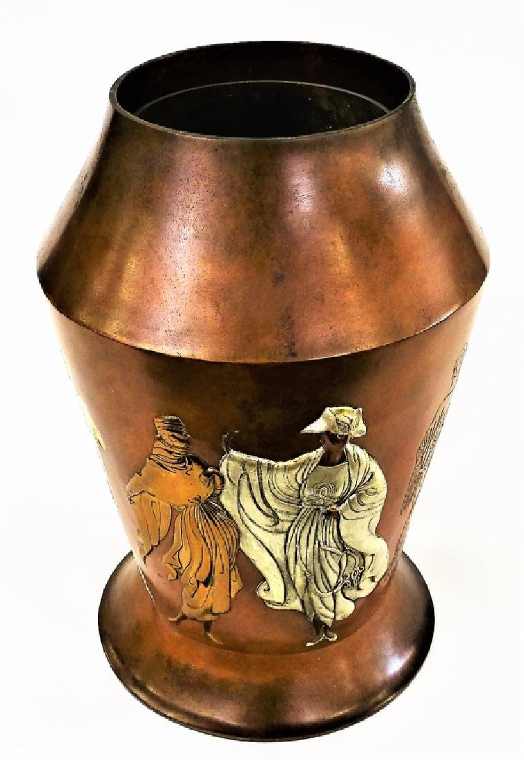 "ERTE FRENCH BRONZE RELIEF ""CELEBRATION"" VASE - 2"