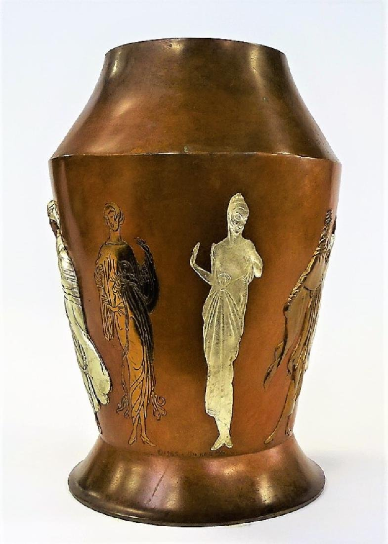 "ERTE FRENCH BRONZE RELIEF ""CELEBRATION"" VASE - 3"