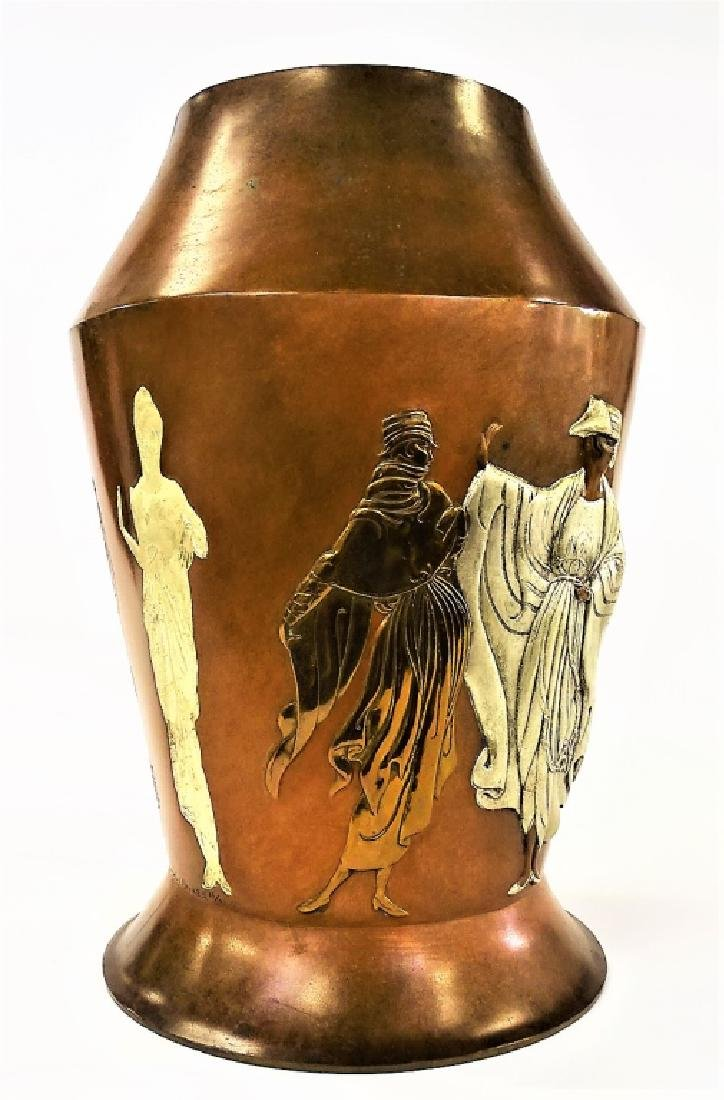 "ERTE FRENCH BRONZE RELIEF ""CELEBRATION"" VASE - 4"