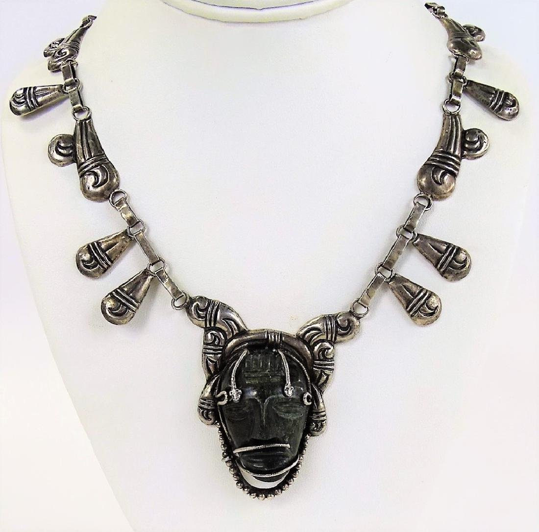 LARGE STERLING MEXICAN NECKLACE EBONY CARVED HEAD - 2