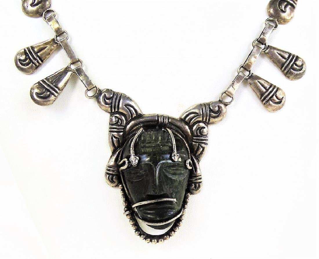 LARGE STERLING MEXICAN NECKLACE EBONY CARVED HEAD - 3