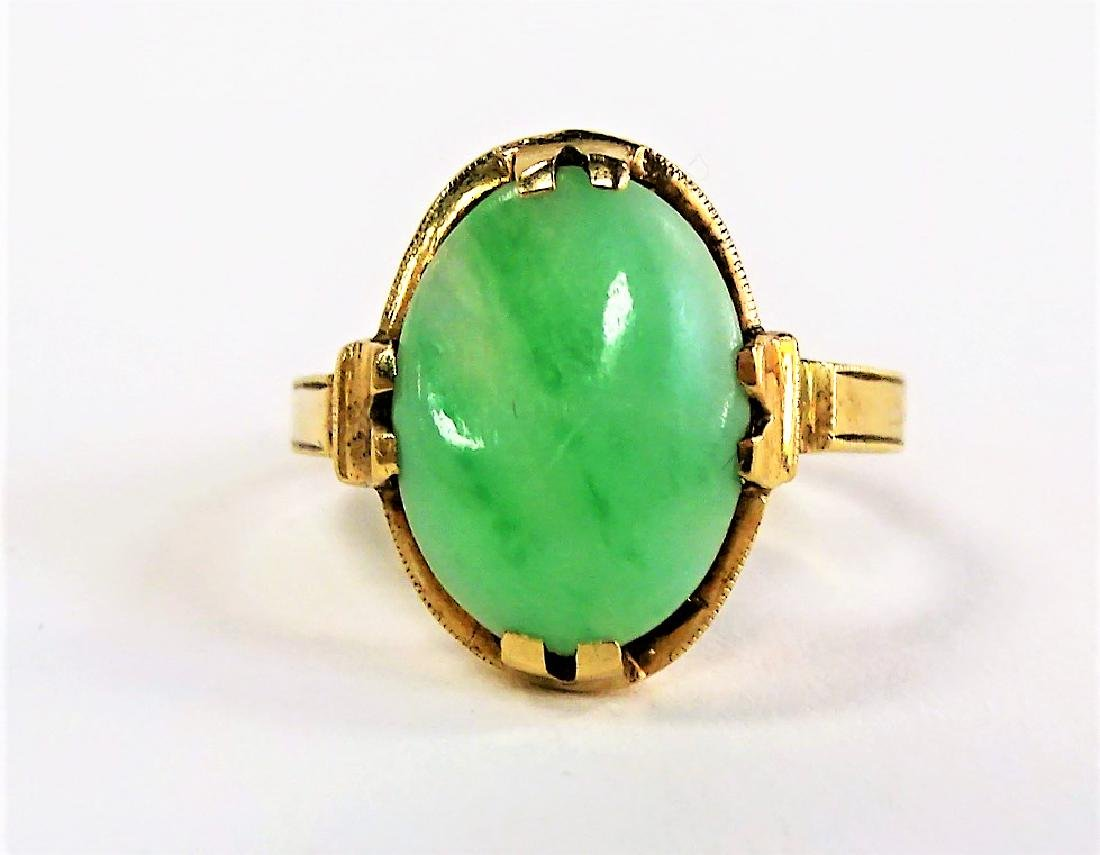 10KT YELLOW GOLD AND JADE LADIES RING