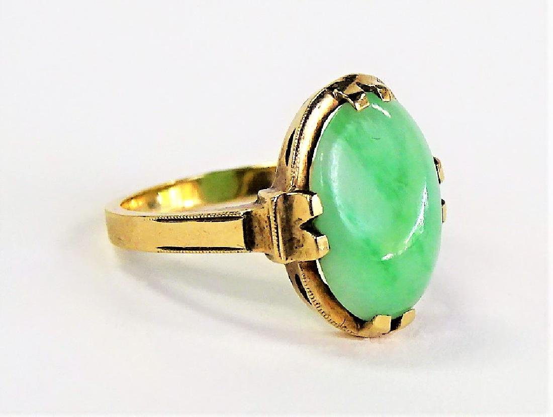 10KT YELLOW GOLD AND JADE LADIES RING - 2