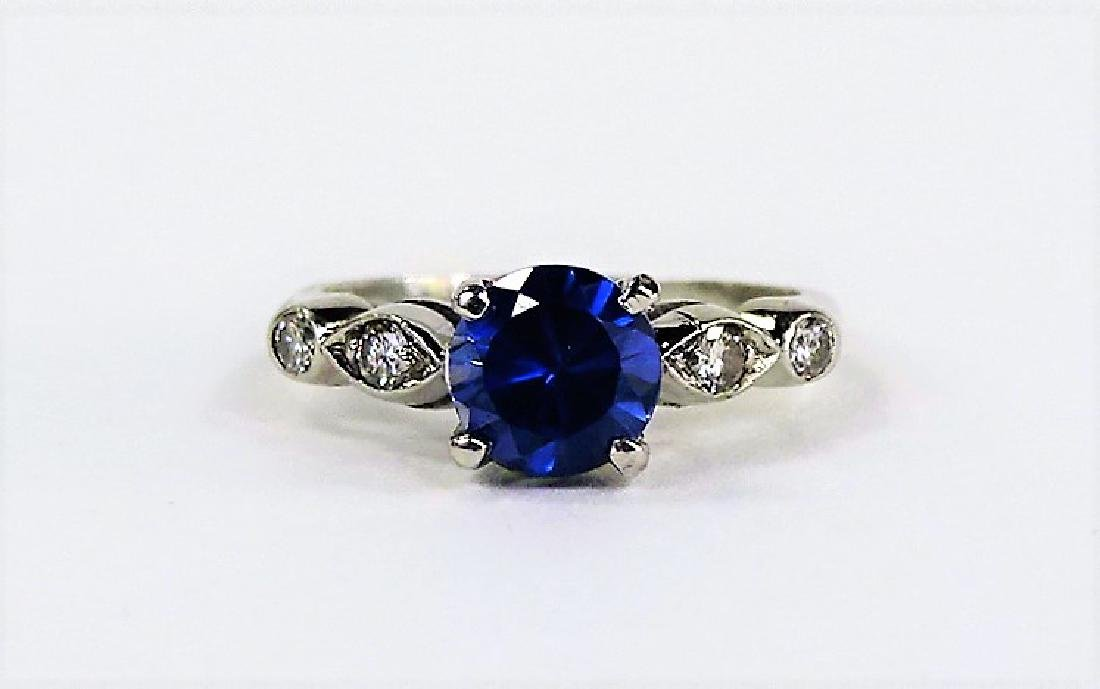 PLATINUM DIAMOND AND TANZANITE LADIES RING