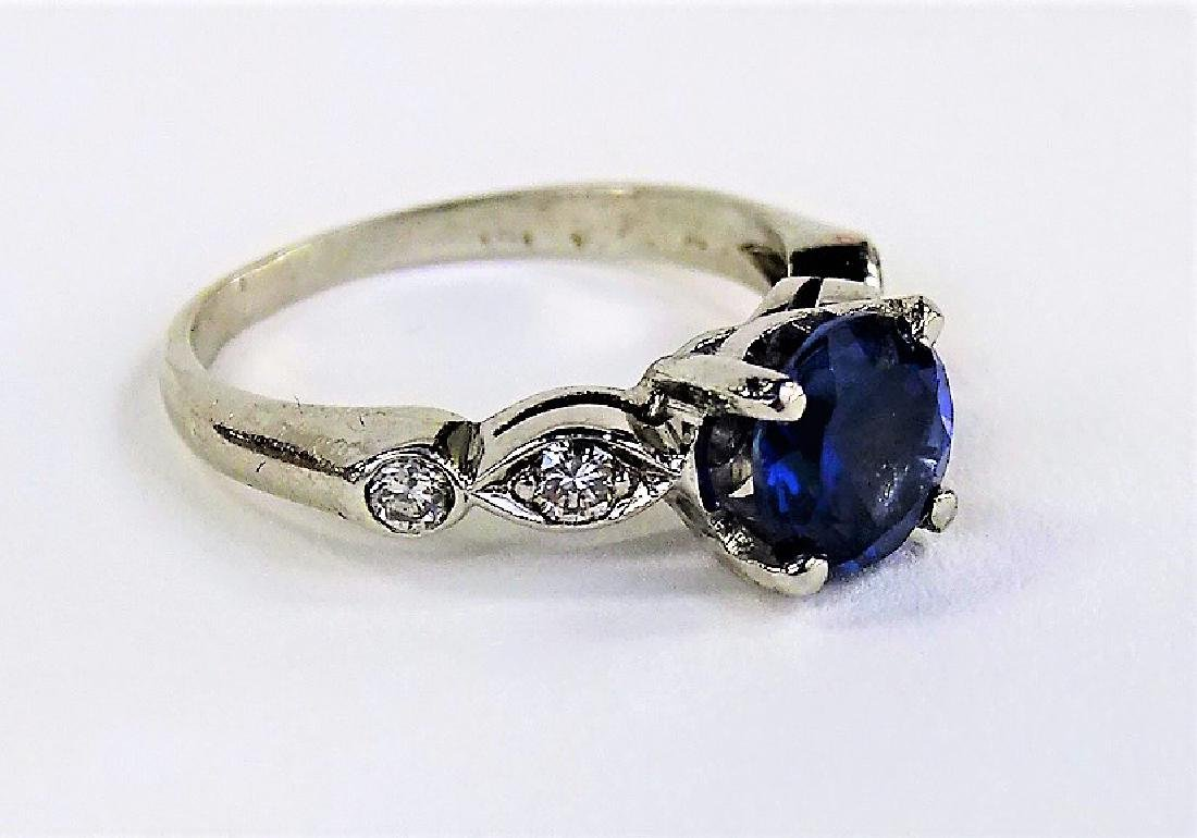 PLATINUM DIAMOND AND TANZANITE LADIES RING - 2
