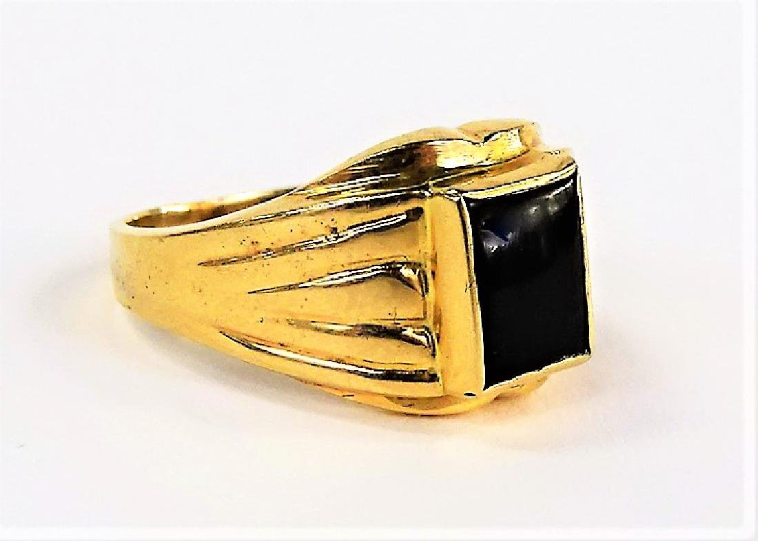 GENTS 14KT YELLOW GOLD AND ONYX RING - 2