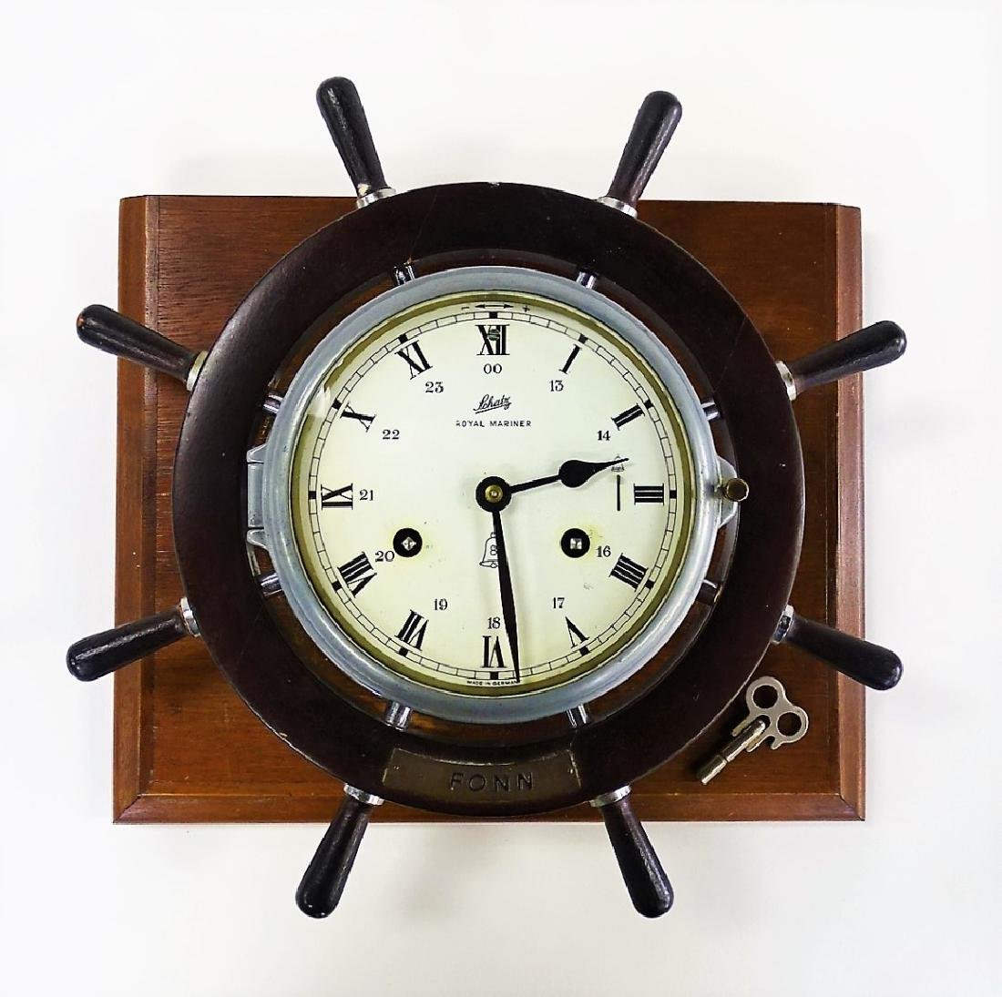 SCHATZ VINTAGE TIME & STRIKE SHIPS CLOCK