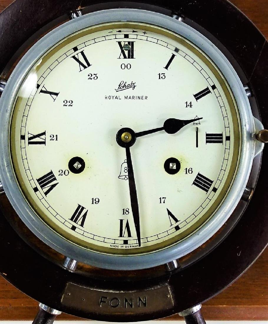 SCHATZ VINTAGE TIME & STRIKE SHIPS CLOCK - 4