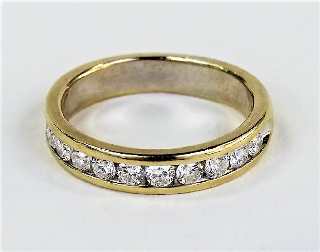 HEAVY 14KT YELLOW GOLD AND DIAMOND WEDDING BAND