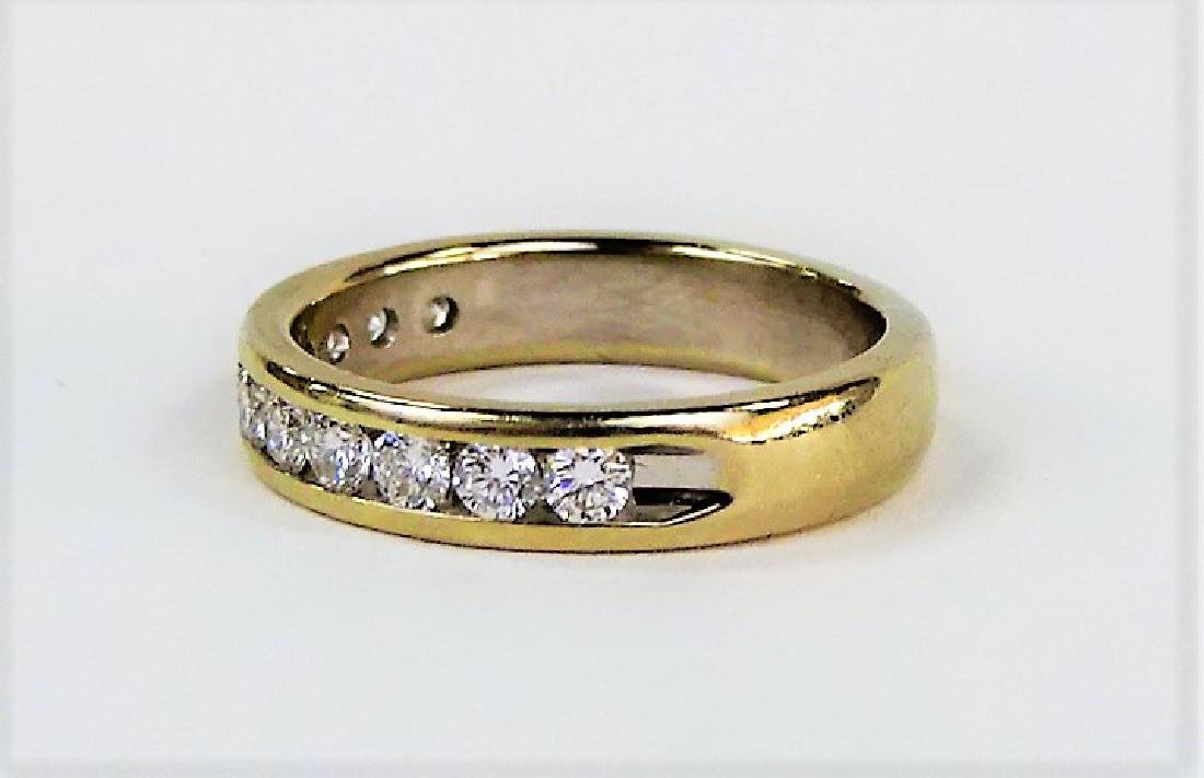 HEAVY 14KT YELLOW GOLD AND DIAMOND WEDDING BAND - 2