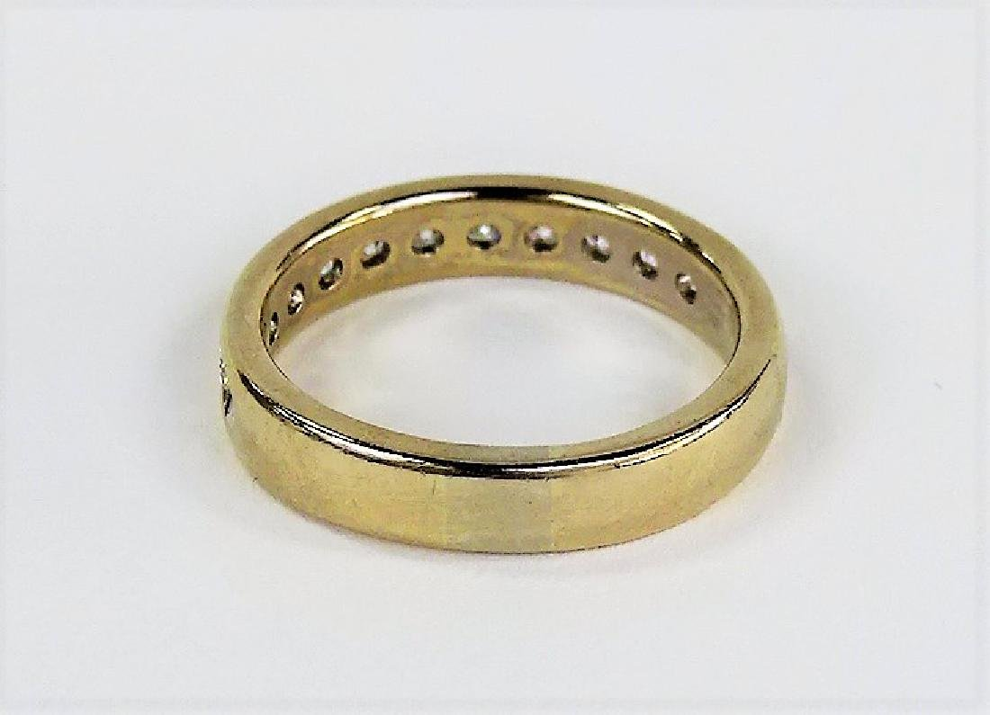 HEAVY 14KT YELLOW GOLD AND DIAMOND WEDDING BAND - 3