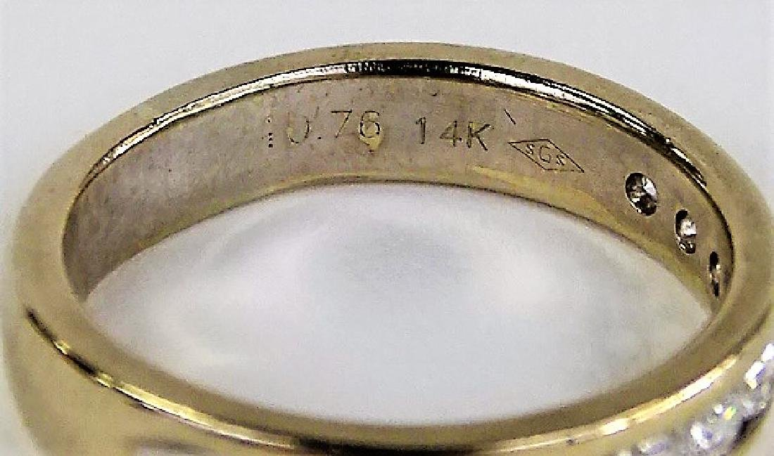 HEAVY 14KT YELLOW GOLD AND DIAMOND WEDDING BAND - 4