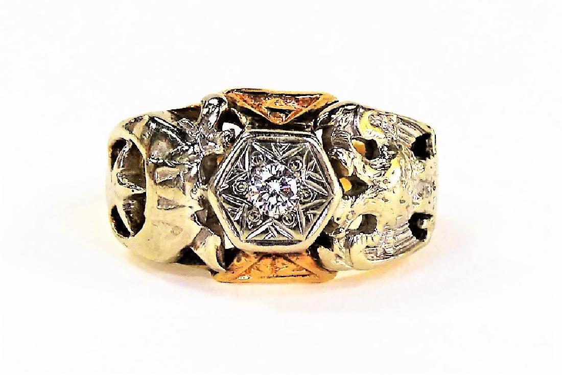 10KT YELLOW GOLD AND DIAMOND MASONIC RING