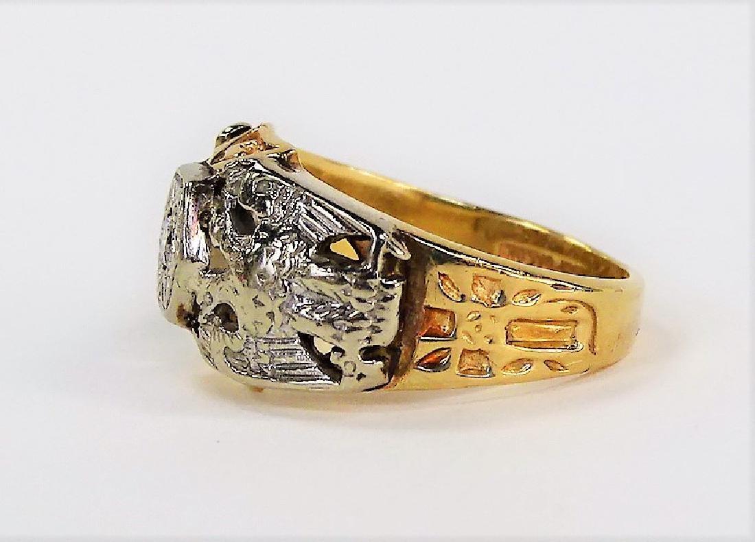 10KT YELLOW GOLD AND DIAMOND MASONIC RING - 4