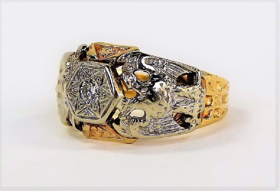 10KT YELLOW GOLD AND DIAMOND MASONIC RING - 5
