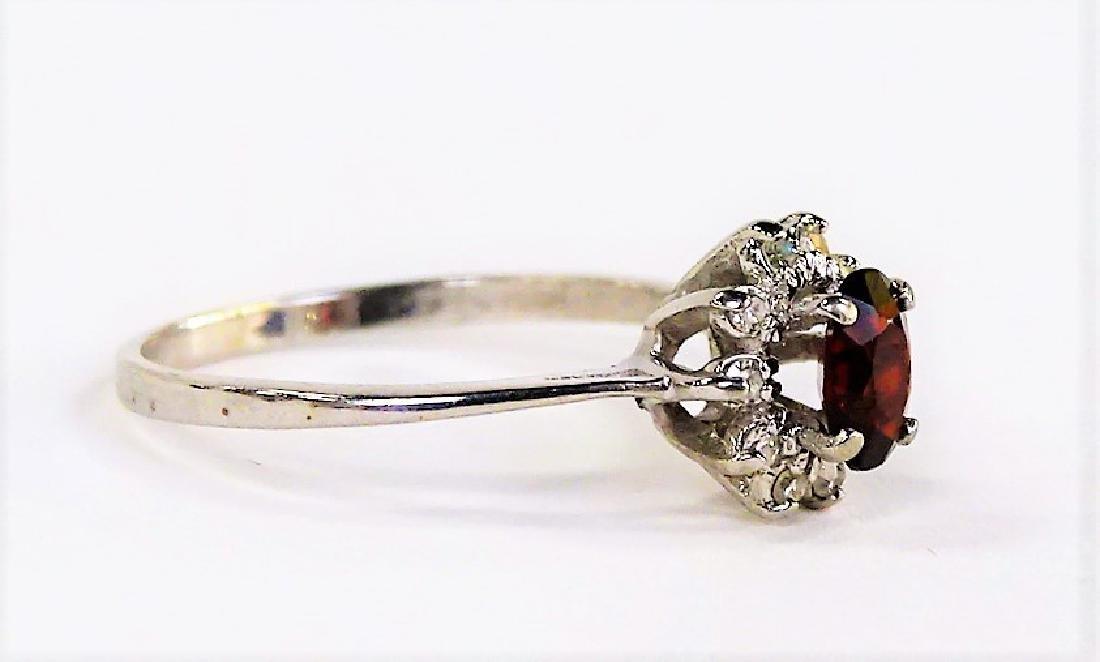 14KT WHITE GOLD GARNET & DIAMOND RING - 2