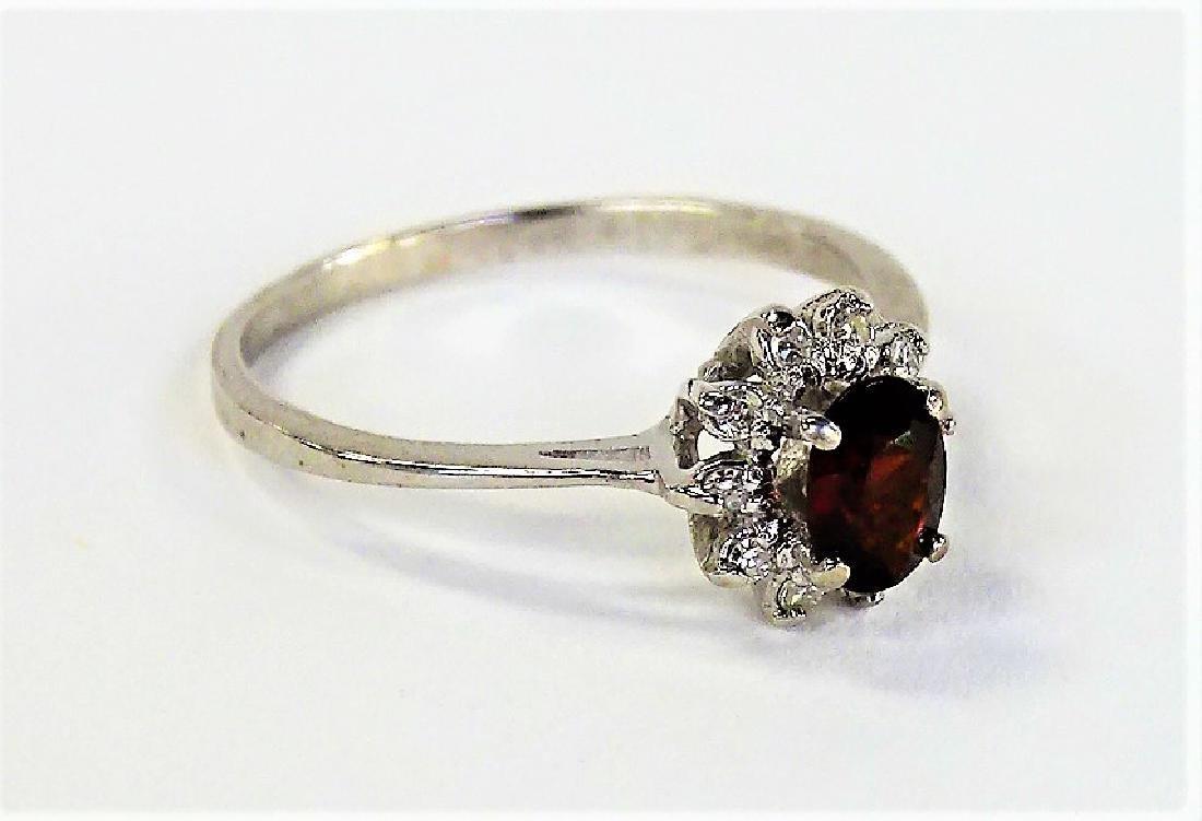 14KT WHITE GOLD GARNET & DIAMOND RING - 3