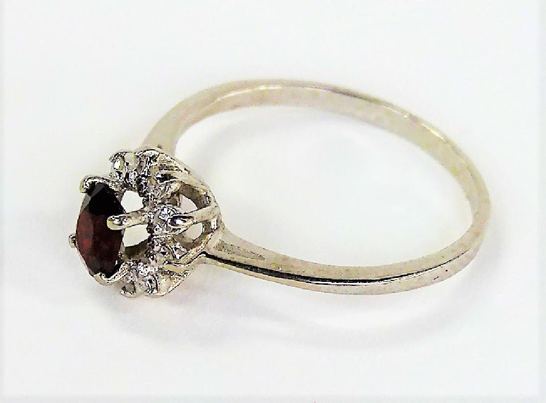 14KT WHITE GOLD GARNET & DIAMOND RING - 4