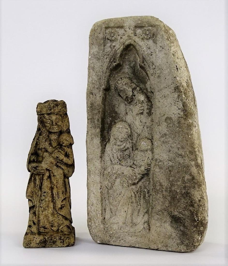 2 ANTIQUE CARVED STONES WITH RELIGIOUS SCENES