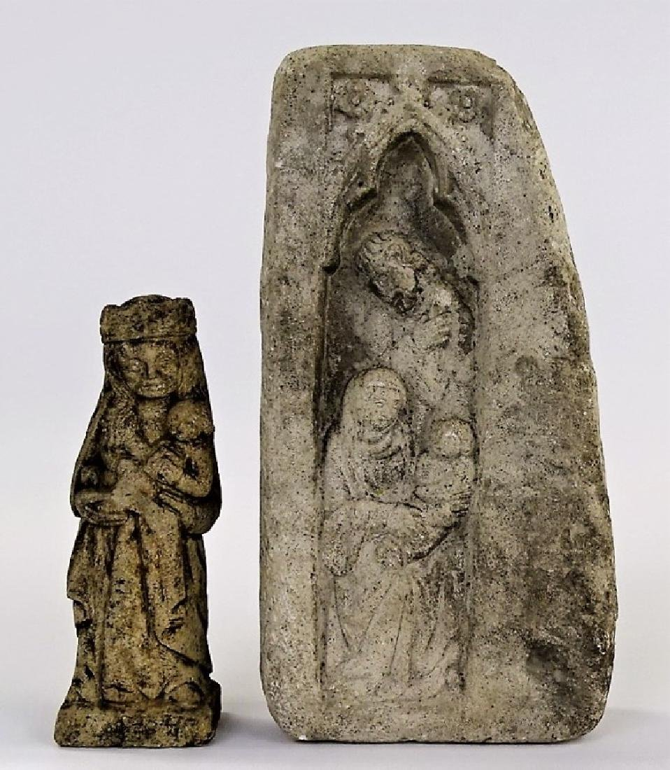 2 ANTIQUE CARVED STONES WITH RELIGIOUS SCENES - 2