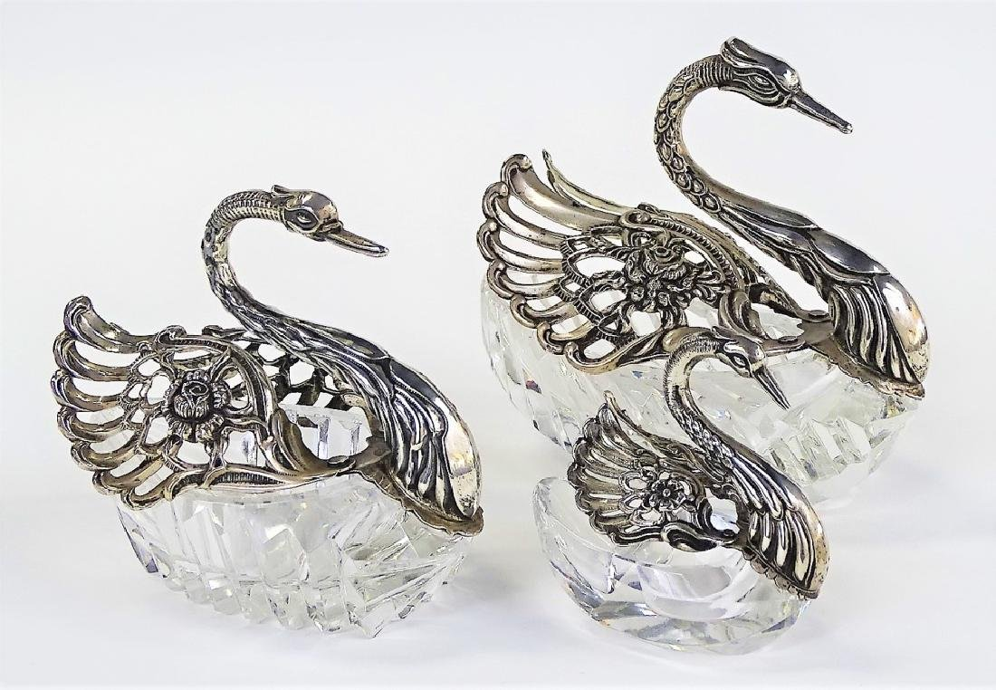 EUROPEAN 835 SILVER CUT CRYSTAL SWAN SALT CELLARS