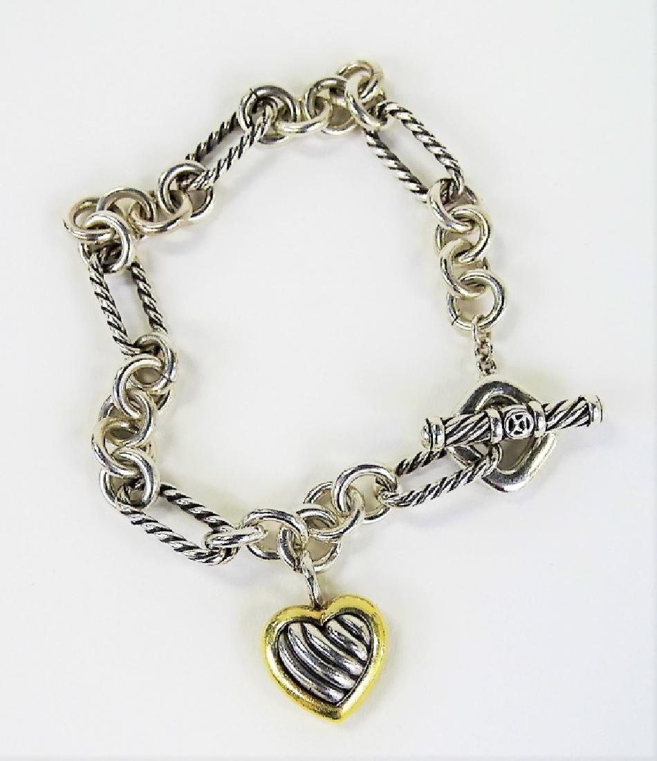 DAVID YURMAN 18K GOLD & STERLING HEART BRACELET