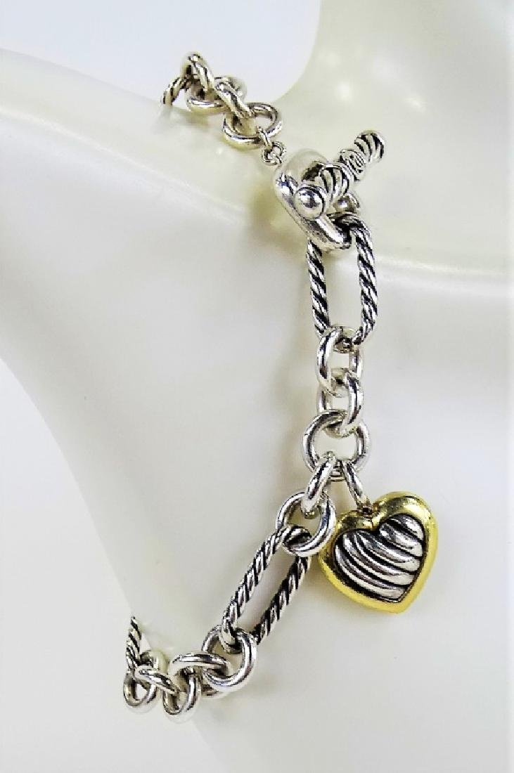 DAVID YURMAN 18K GOLD & STERLING HEART BRACELET - 2