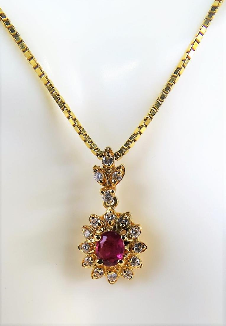 ESTATE 14K YELLOW GOLD DIAMOND & RUBY NECKLACE