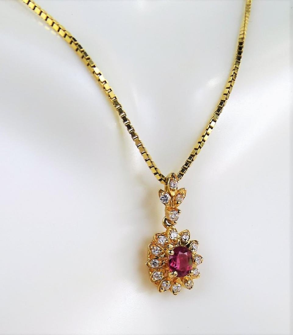 ESTATE 14K YELLOW GOLD DIAMOND & RUBY NECKLACE - 2