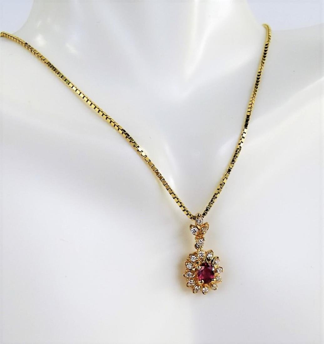 ESTATE 14K YELLOW GOLD DIAMOND & RUBY NECKLACE - 3