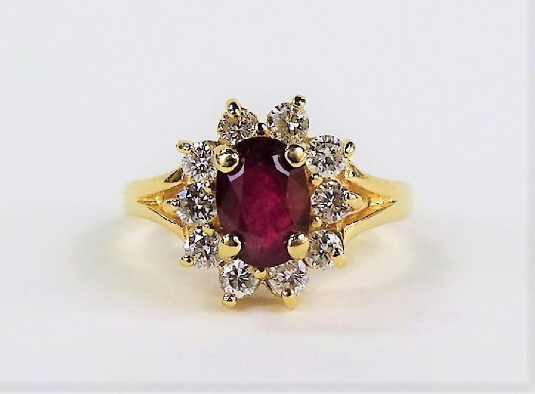 ESTATE 14K YELLOW GOLD DIAMOND & RUBY LADIES RING