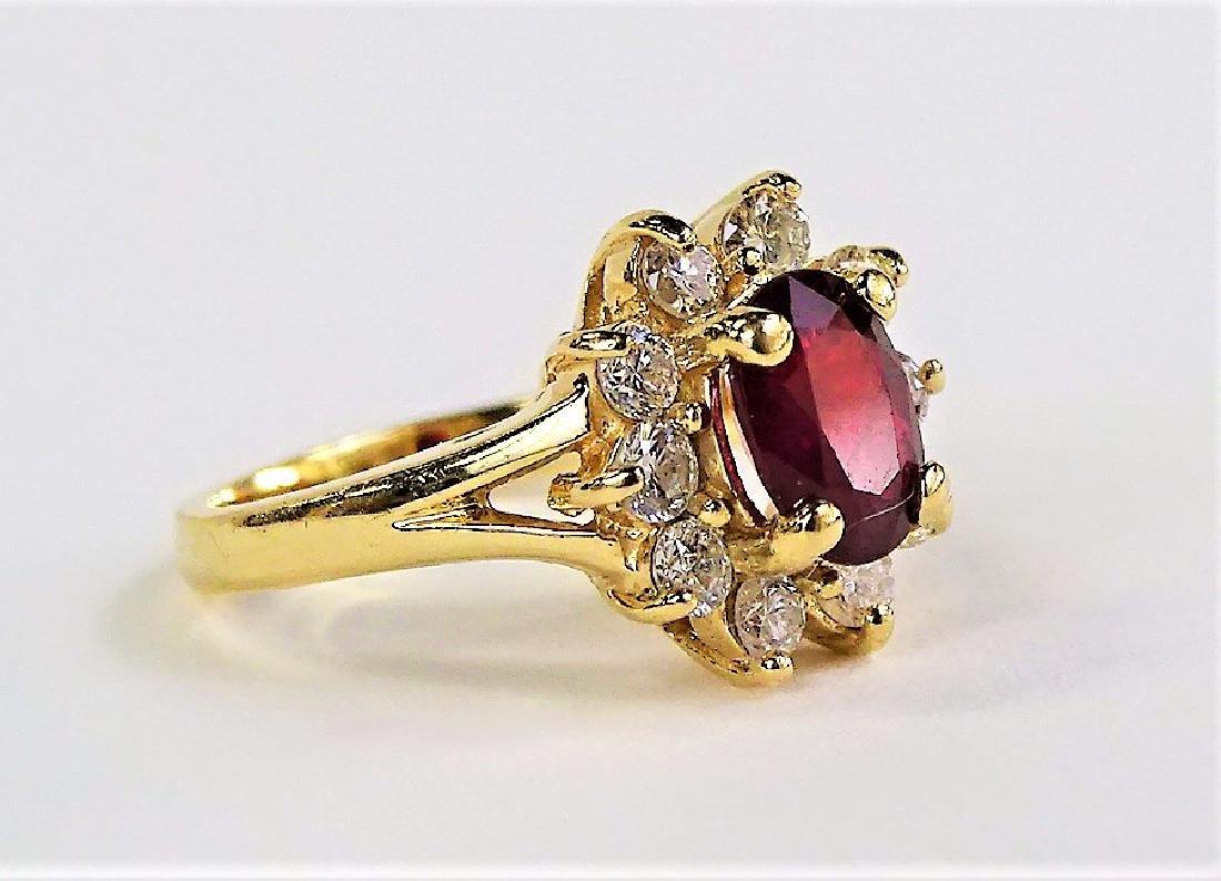 ESTATE 14K YELLOW GOLD DIAMOND & RUBY LADIES RING - 2