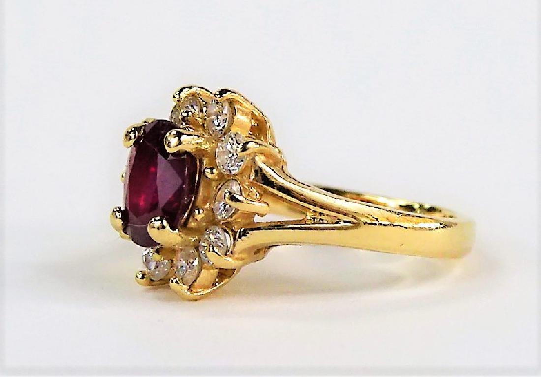 ESTATE 14K YELLOW GOLD DIAMOND & RUBY LADIES RING - 3