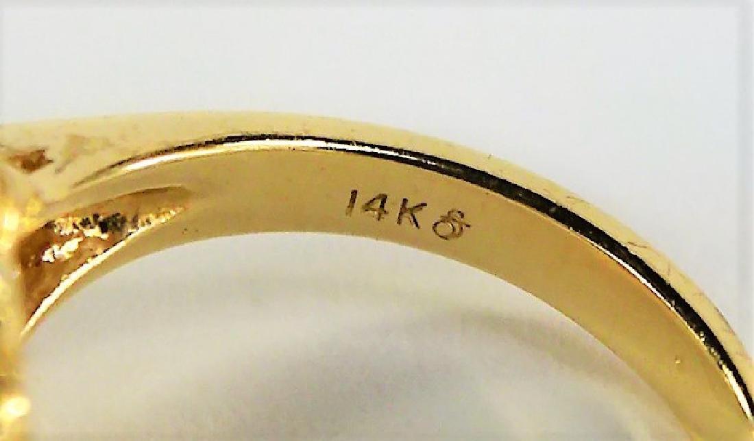 ESTATE 14K YELLOW GOLD DIAMOND & RUBY LADIES RING - 4
