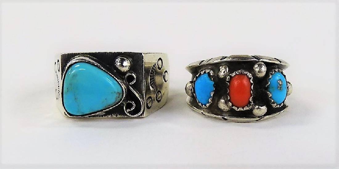 TWO STERLING SILVER TURQUOISE & CORAL RINGS