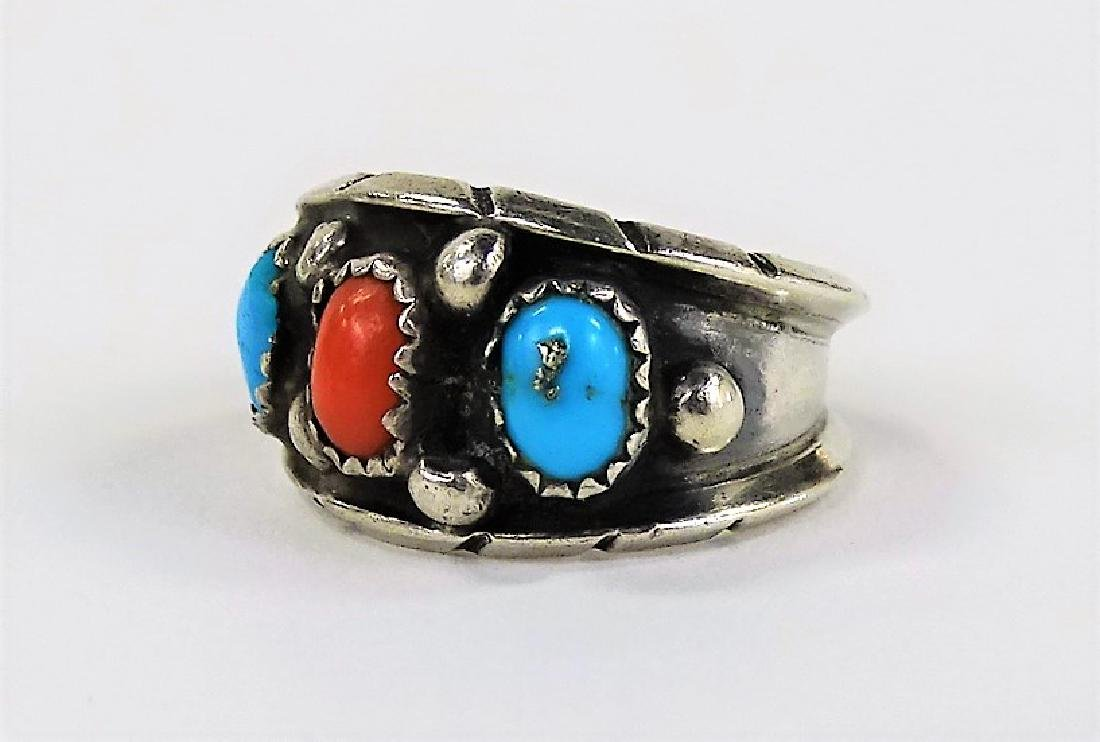TWO STERLING SILVER TURQUOISE & CORAL RINGS - 2