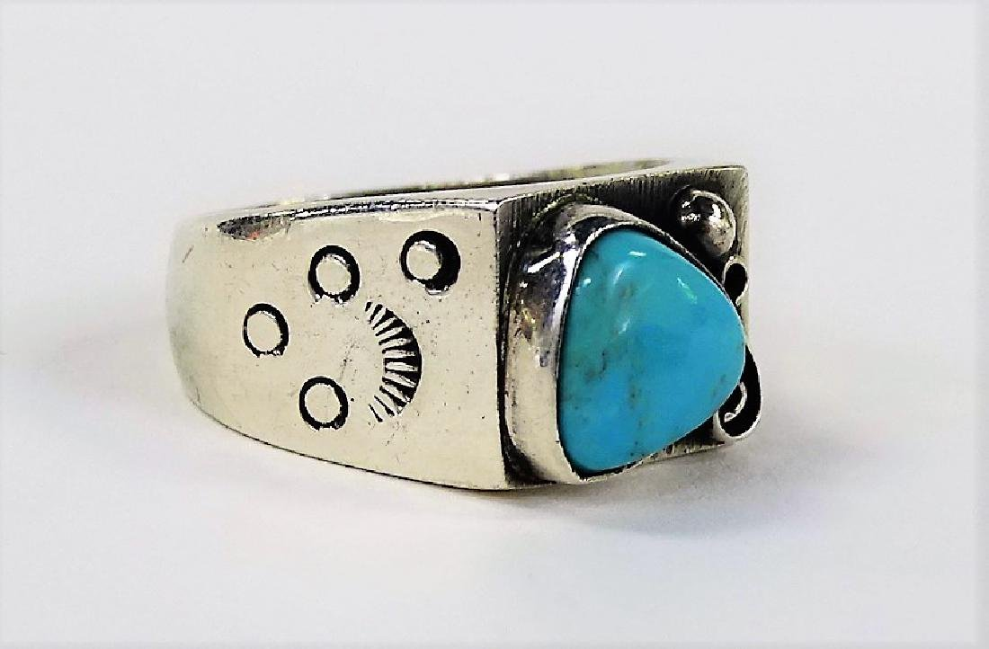 TWO STERLING SILVER TURQUOISE & CORAL RINGS - 3