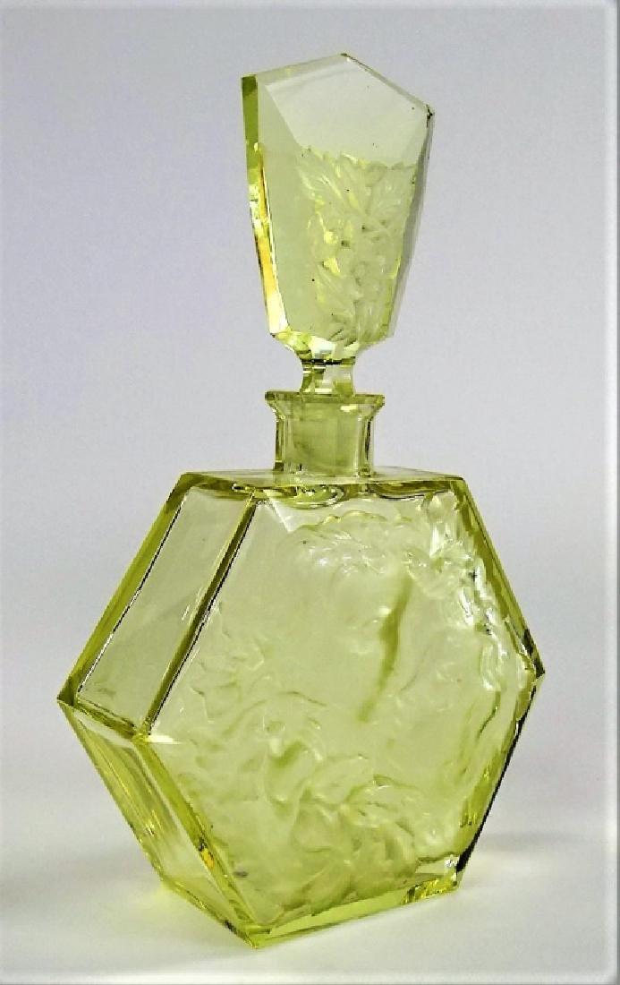 LARGE VINTAGE CZECH CUT GLASS PERFUME BOTTLE