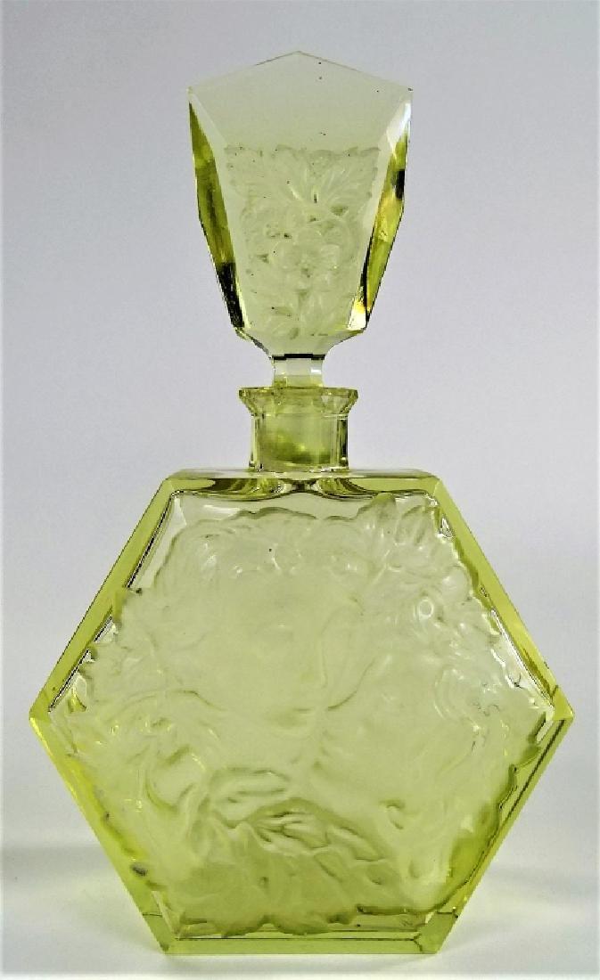 LARGE VINTAGE CZECH CUT GLASS PERFUME BOTTLE - 2