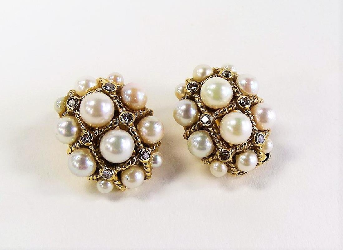 HEAVY PAIR 14KT Y .GOLD & PEARL & DIAMOND EARRINGS