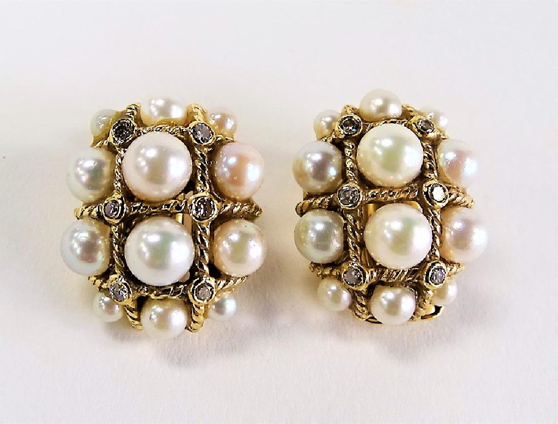 HEAVY PAIR 14KT Y .GOLD & PEARL & DIAMOND EARRINGS - 2