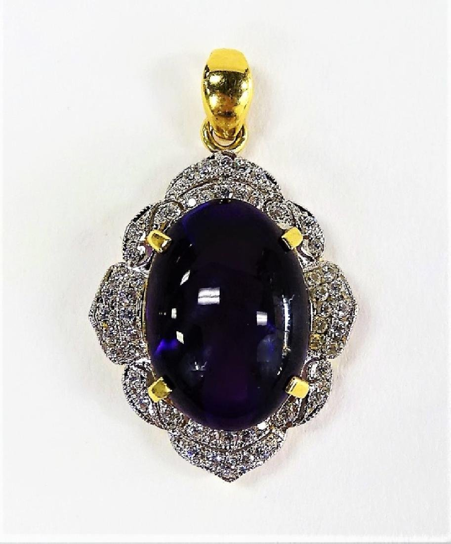 18 KT YELLOW GOLD DIAMOND & AMETHYST PENDANT