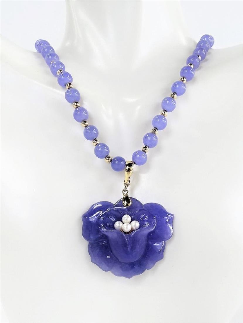 CHINESE LAVENDER JADE & 14KT Y GOLD NECKLACE