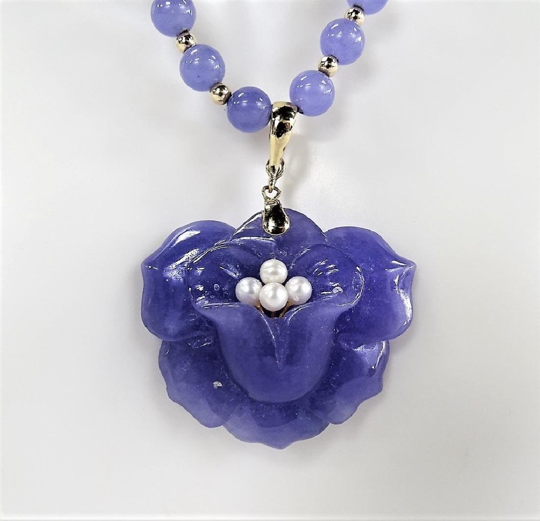 CHINESE LAVENDER JADE & 14KT Y GOLD NECKLACE - 3