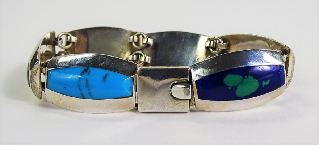 HEAVY INLAID MEXICAN STERLING SILVER BRACELET - 3