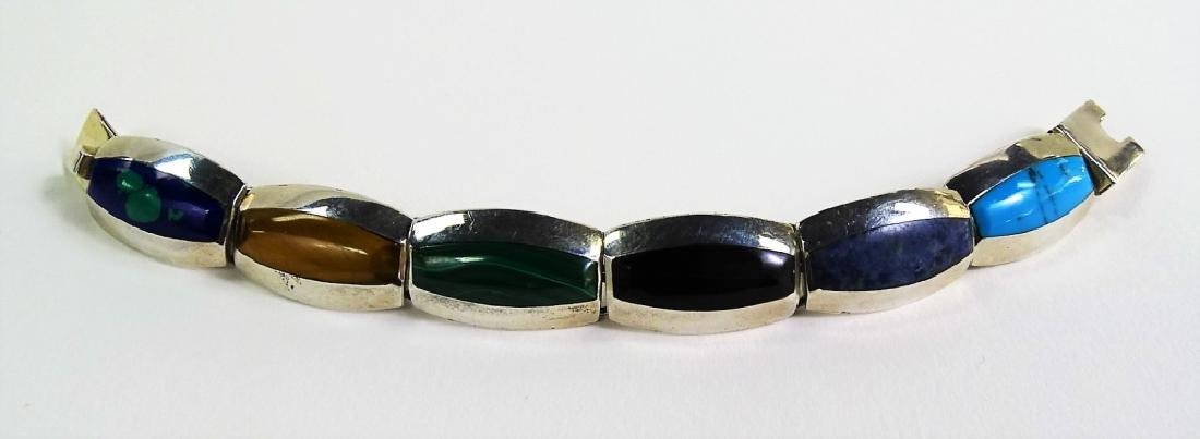 HEAVY INLAID MEXICAN STERLING SILVER BRACELET - 4